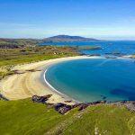 Aerial view of Glassillaun Beach, County Glaway, Ireland.