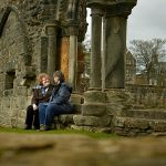 A couple enjoy a visit to St Andrews Cathedral
