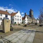 Statue of Admiral Thomas Cochrane and the Townhouse  in the Royal Burgh of Culross